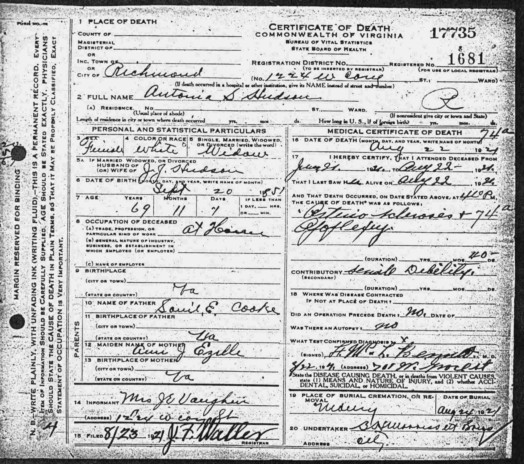 Virginia Divorce Records: Virginia Death Certificates, 1912-1939